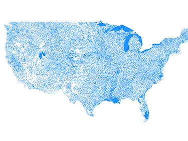 Map Shows Every Body of Water in the United States