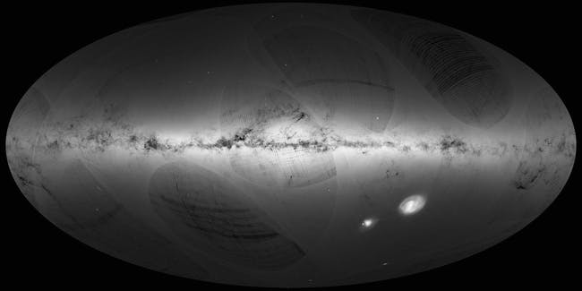 An all-sky view of stars in our Galaxy – the Milky Way – and neighbouring galaxies, based on the first year of observations from ESA's Gaia satellite, from July 2014 to September 2015.