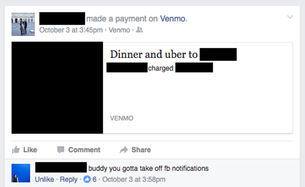 What a Venmo post on Facebook looks like.