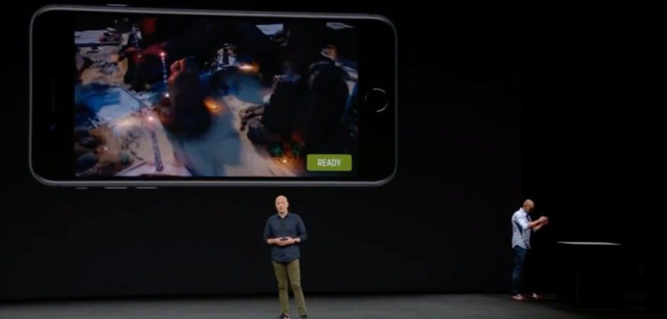 iOS 11's ARKit in action.