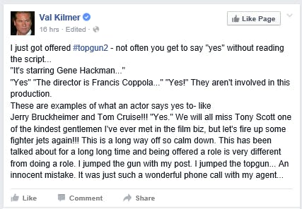 """Actor Val Kilmer announcing his appearance in the planned sequel to the 1986 film """"Top Gun."""""""