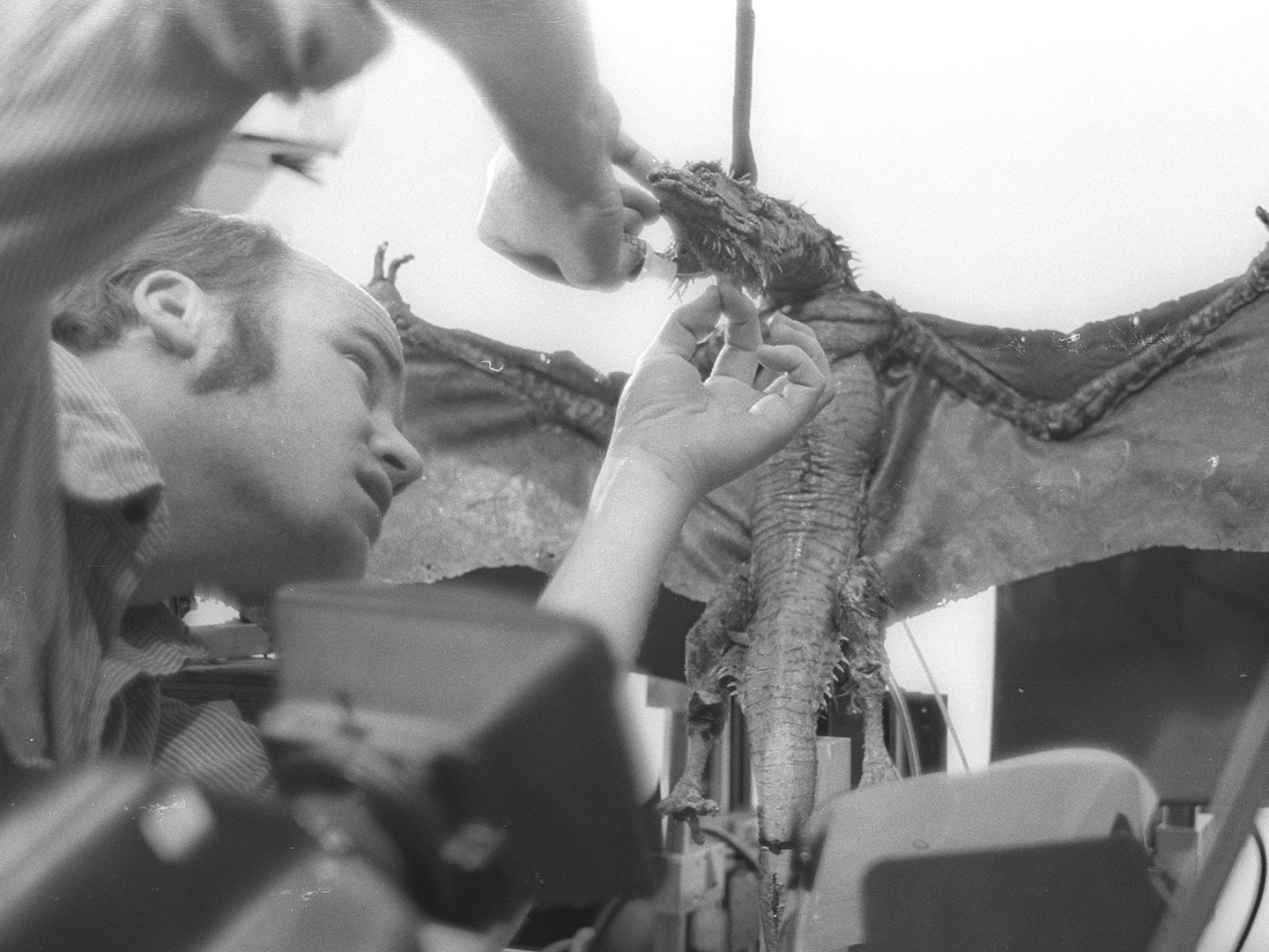 Phil Tippett works on the dragon puppet Vermithrax, which was brought to life with his Go-Motion technique.