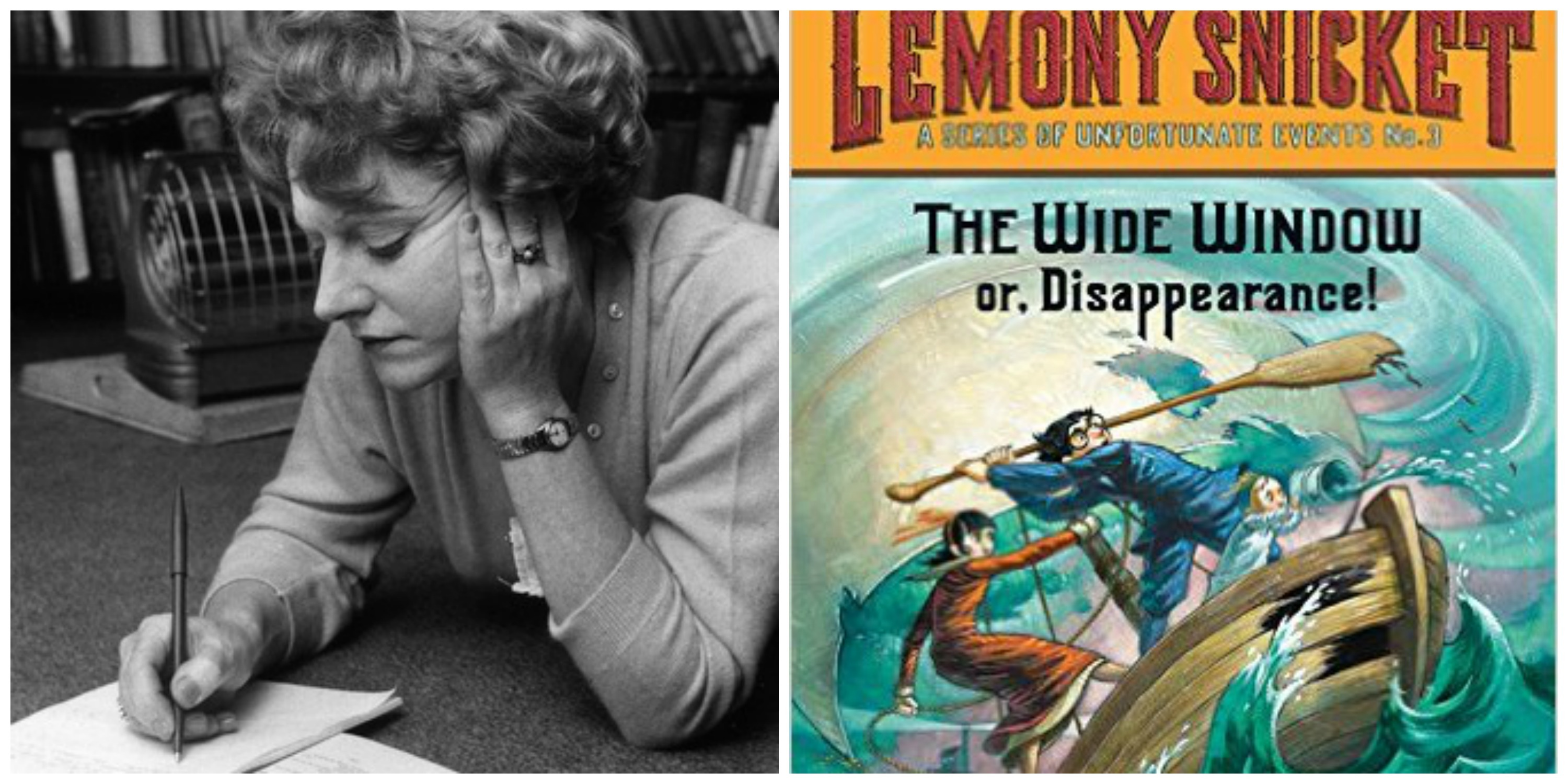 LEFT: Dame Muriel Spark. RIGHT: Paperback cover of 'The Wide Window' by Lemony Snicket