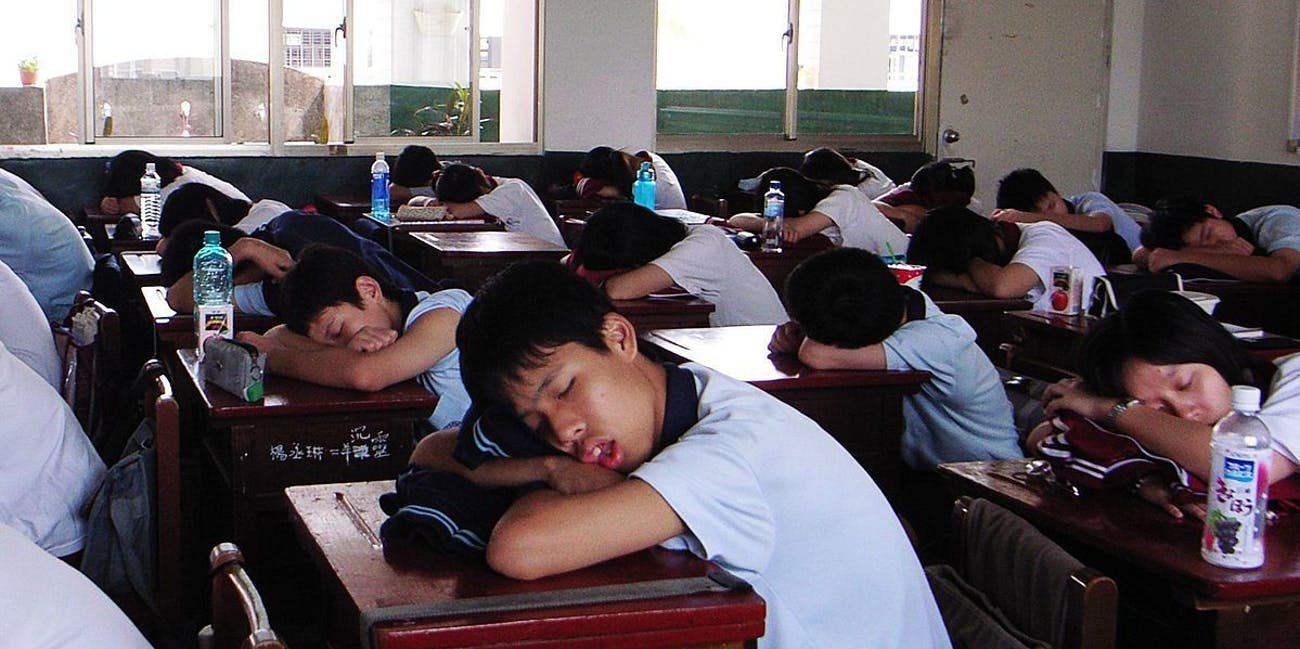 student sleep school class desk