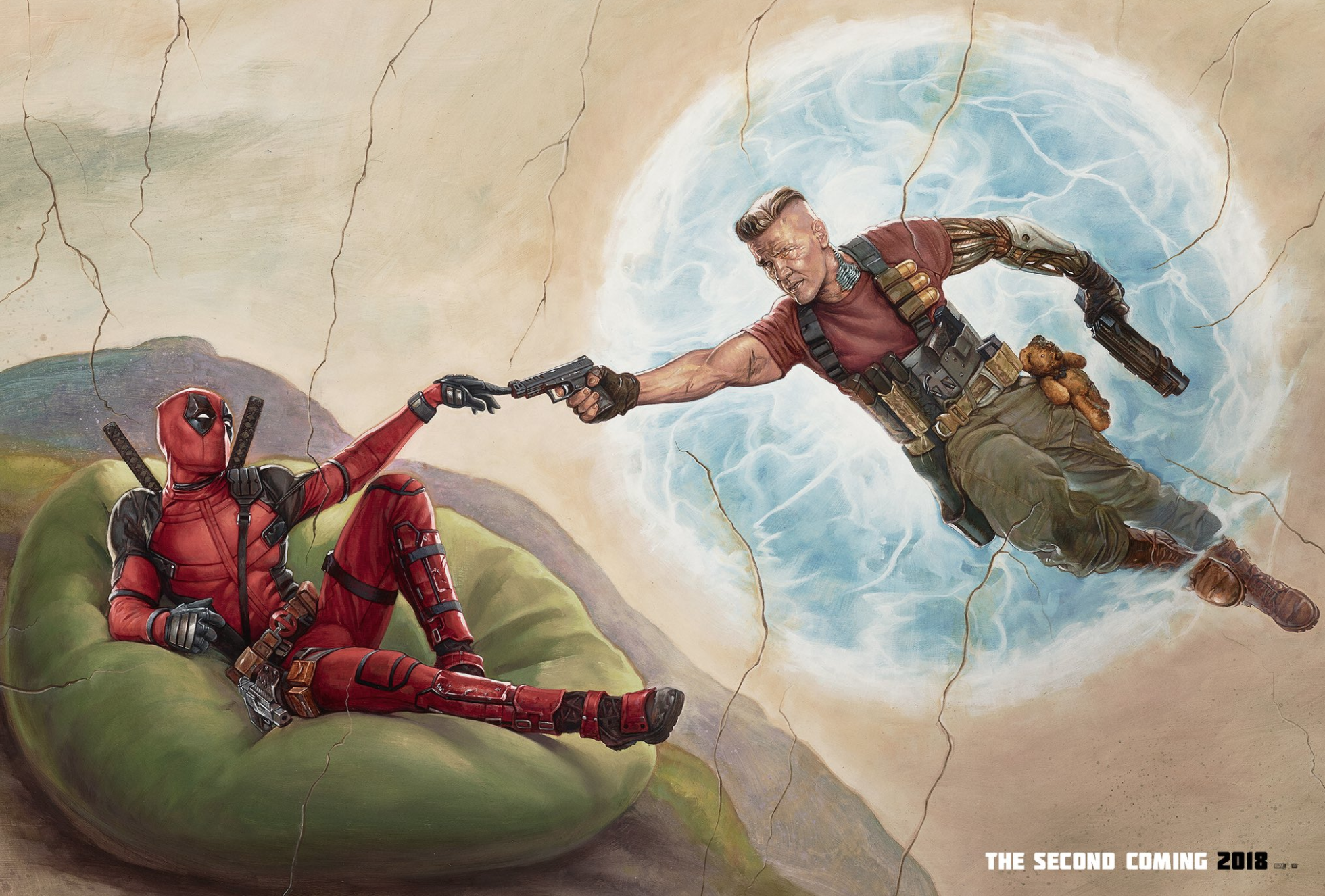 deadpool 2 poster spoofs michelangelo s the creation of adam