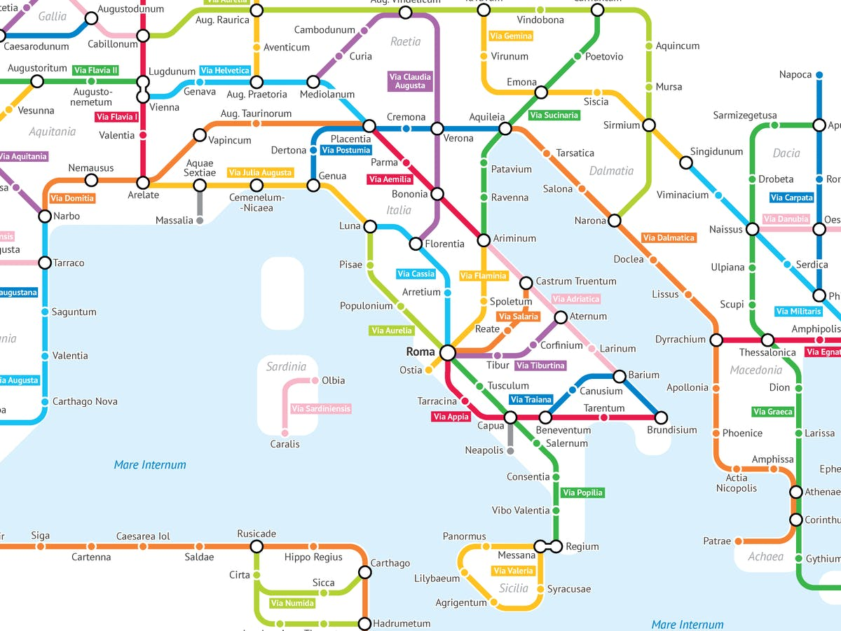 What The Roman Empire Would Look Like If It Was A Subway Map.This Cartographer Turned Roman Roads Into A Modern Subway Map Inverse