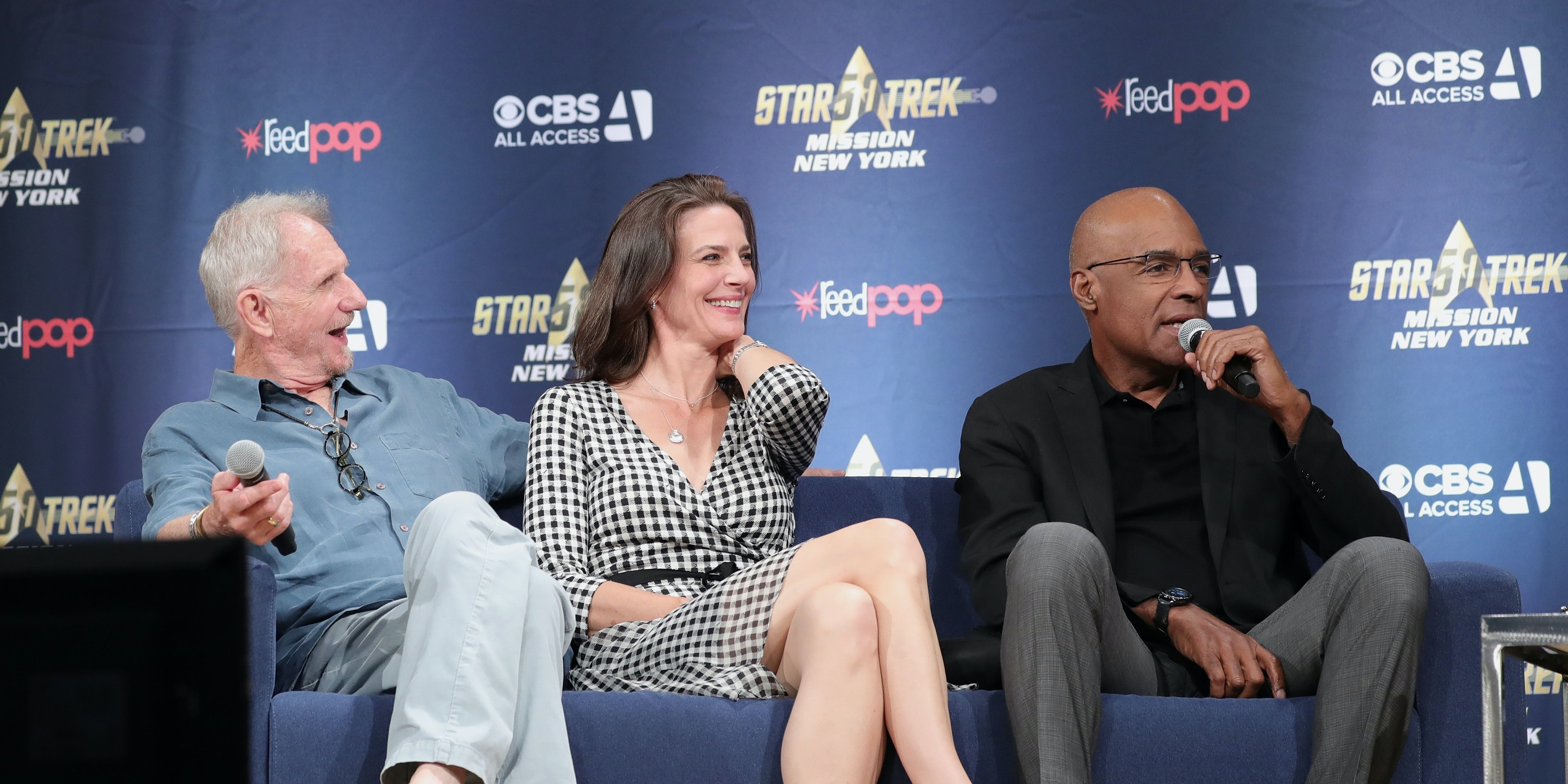 NEW YORK, NY - SEPTEMBER 02:  (L-R) Rene Auberjonois, Terry Farrell and Michael Dorn speak on stage at 'The Star Trek: Deep Space Nine: From The Edge of the Frontier' cast reunion at Javits Center on September 2, 2016 in New York City.  (Photo by Neilson Barnard/Getty Images)