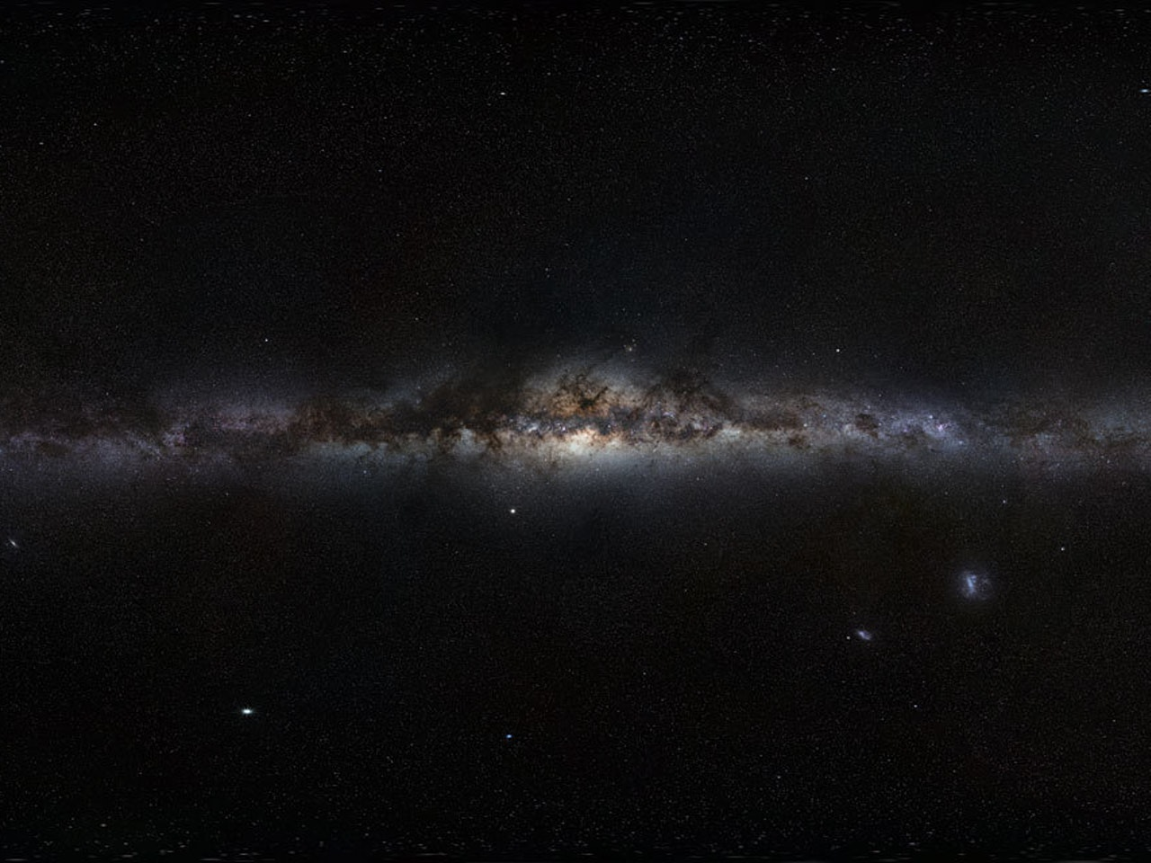 A view of the plane of our Milky Way Galaxy, seen edge-on from our perspective on Earth, as if we were looking at the Milky Way from the outside.