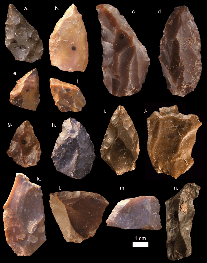 Some of the Middle Stone Age stone tools from Jebel Irhoud (Morocco). Pointed forms such as a-i are common in the assemblage. Also characteristic are the Levellois prepared core flakes (j-k) (Picture credit: Mohammed Kamal, MPI EVA Leipzig, License: CC-BY-SA 2.0).