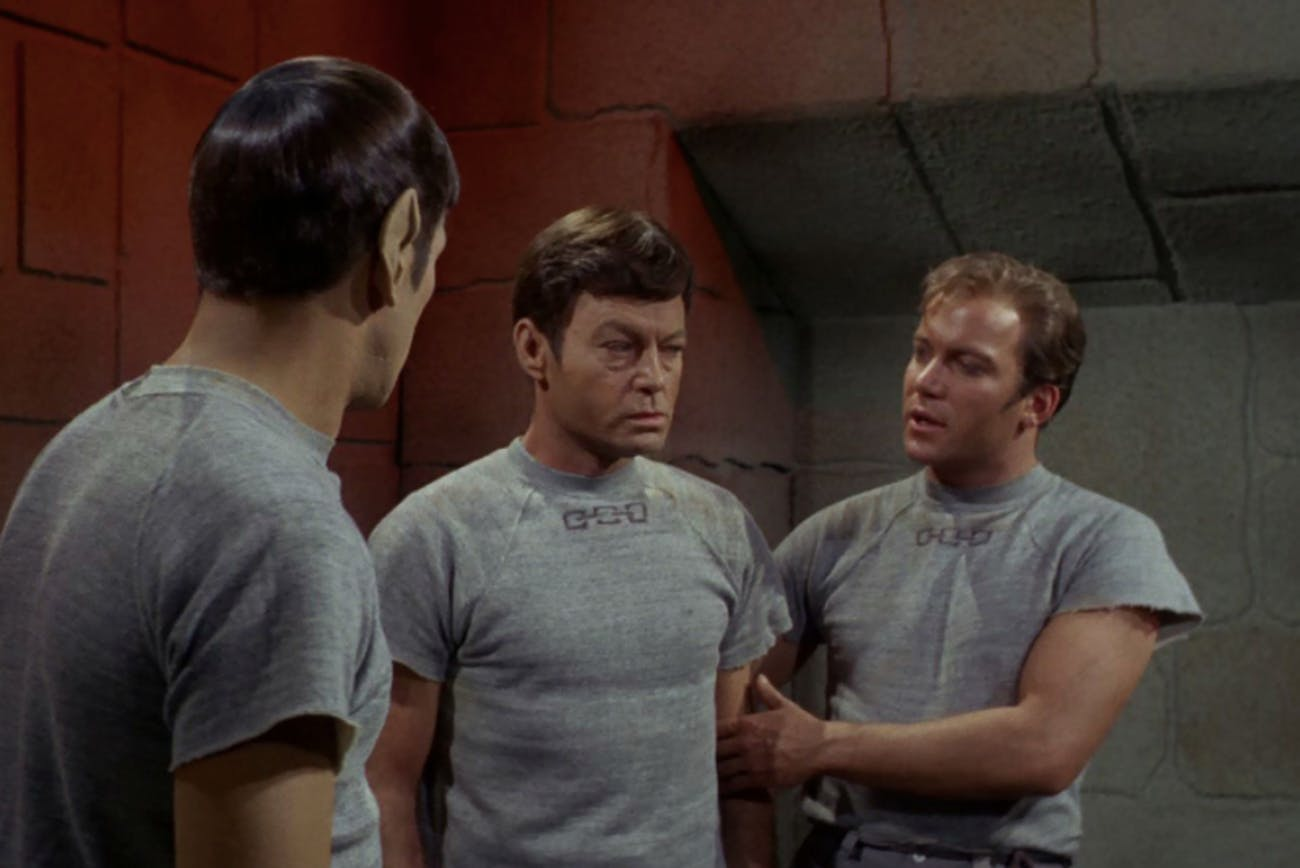 "Spock, Bones and Kirk in ""Bread and Circuses."""