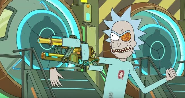 What's the deal with mechanized Iron Man Rick?