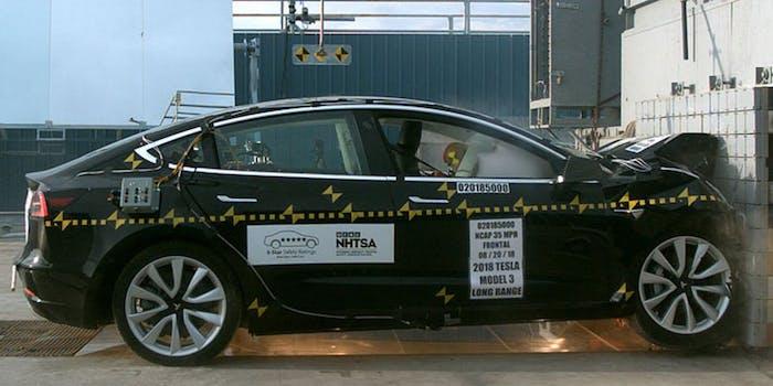 NHTSA showing Tesla Model 3.
