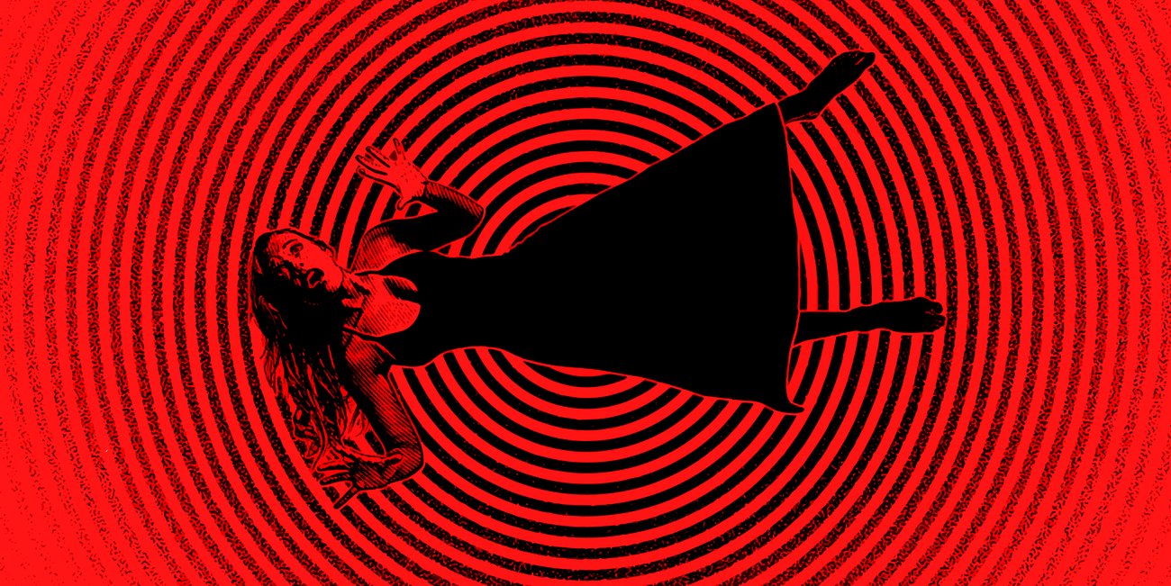Woman falling into red