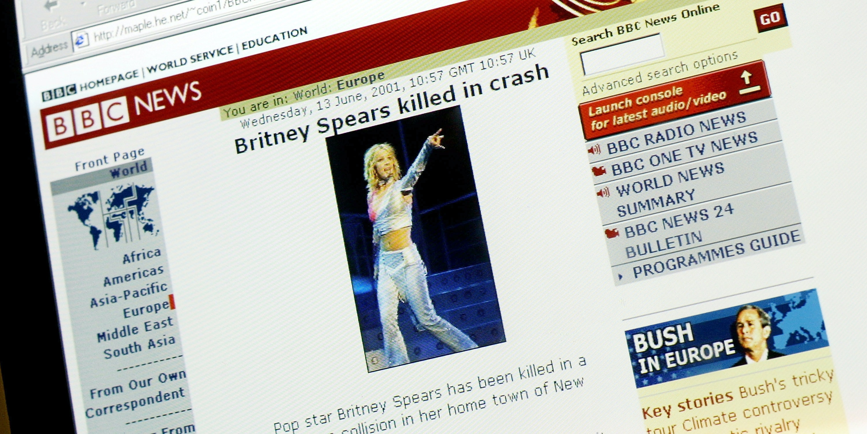 A website, falsely identifying itself as 'BBC News' with links connecting it to the real 'BBC News,' reports the death of pop singer Britney Spears June 13, 2001 in London, England.