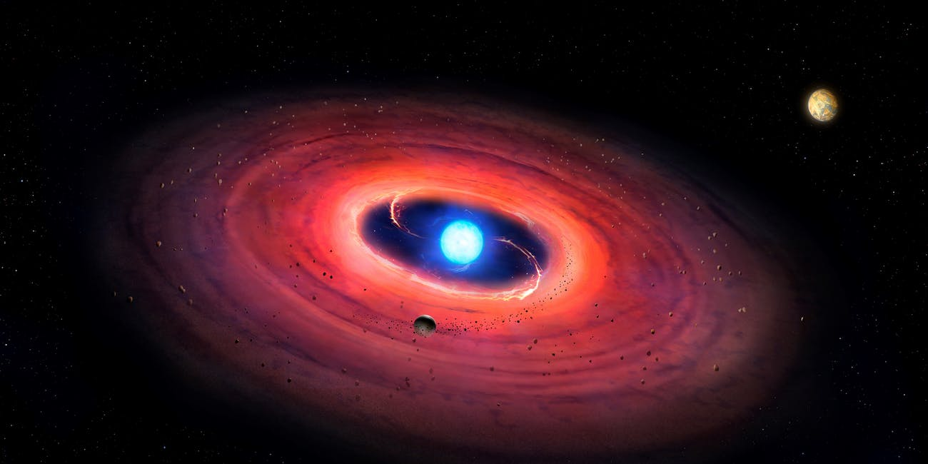 An artist's rendering of a white dwarf star, with a planet in its orbit.