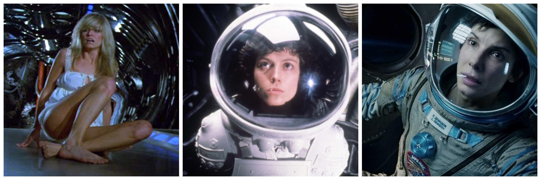 Left: Farrah Fawcett in 'Saturn 3' Center: Sigourney Weaver in 'Alien' Right: Sandra Bullock in 'Gravity'