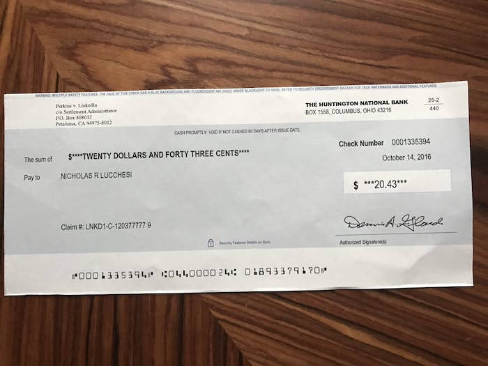 A check from the Perkins v. LinkedIn lawsuit that was sent on October 14, 2016.