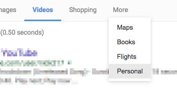 The Google 'Personal' tab.