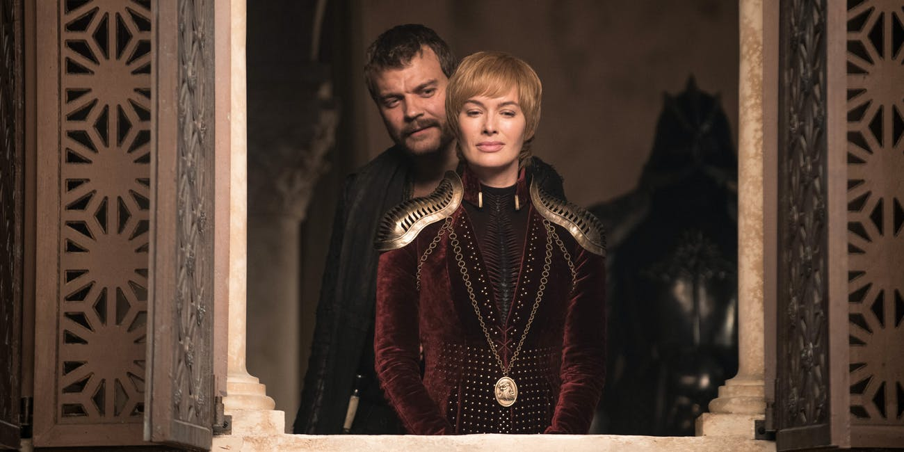 Pilou Asbaek and Lena Headey as Euron Greyjoy and Cersei Lannister on 'Game of Thrones' season eight