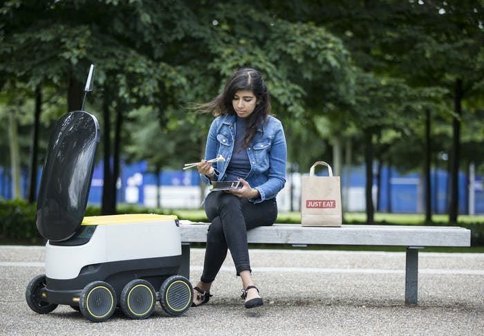 LONDON, ENGLAND - JULY 05: JUST EAT pilots a Starship robot to deliver food from its takeaway restaurants on July 5, 2016 in London, England. (Photo by John Phillips/Getty Images for JUST EAT )