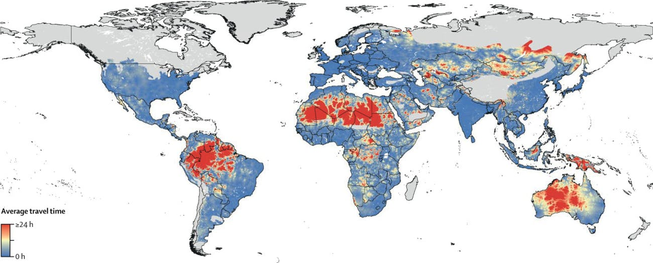 This map shows how far people living near venomous snakes have to travel to reach the nearest city, a factor that can be critical when seeking urgent medical care.