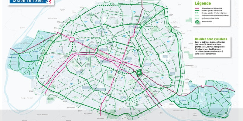 In the next four years Paris will complete construction on a bike highway of 28 miles.