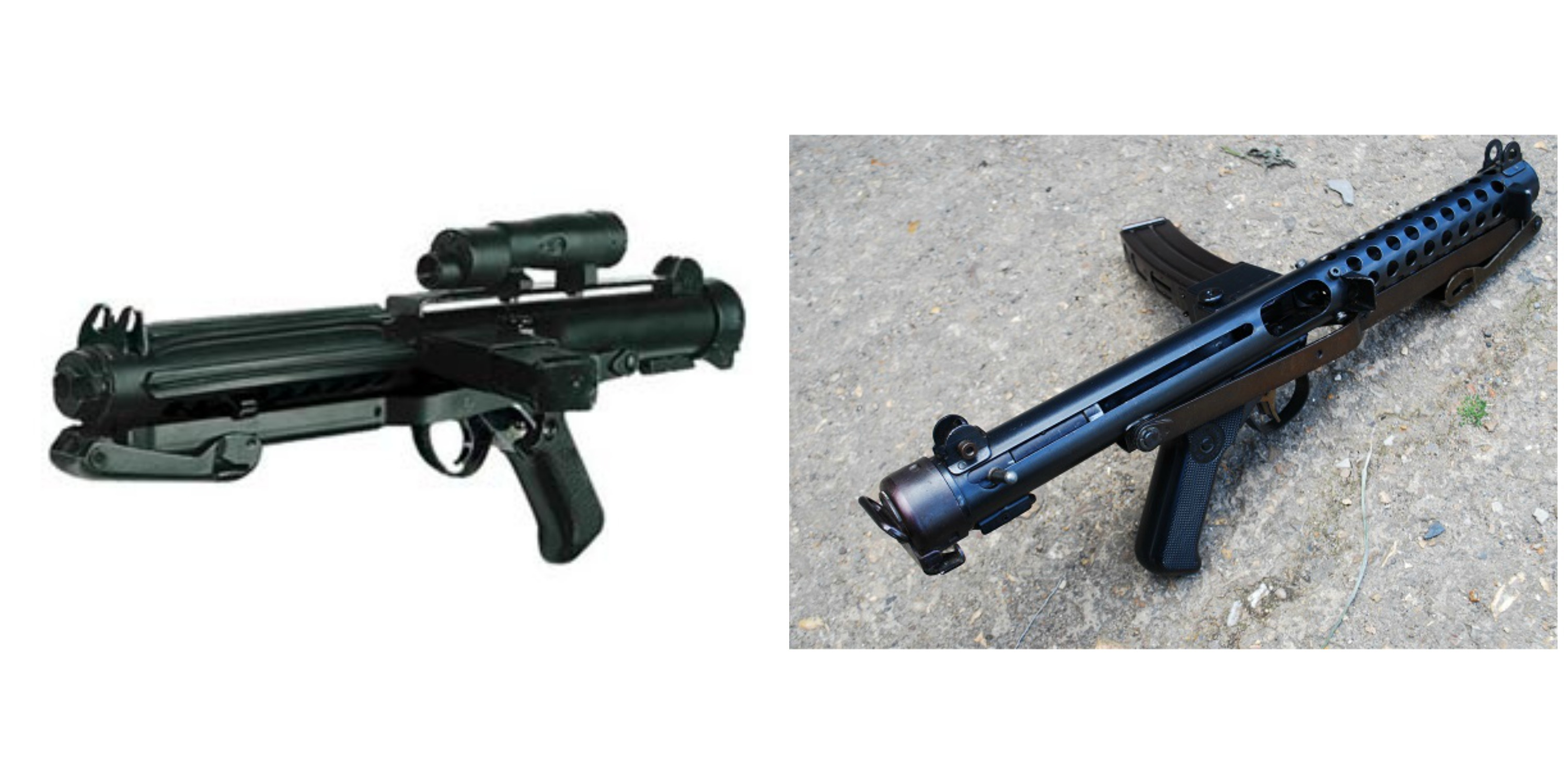 Left: Stormtrooper blaster from 'Star Wars' and 'Rogue One'. Right: Sterling British Submachine Gun from 1944.