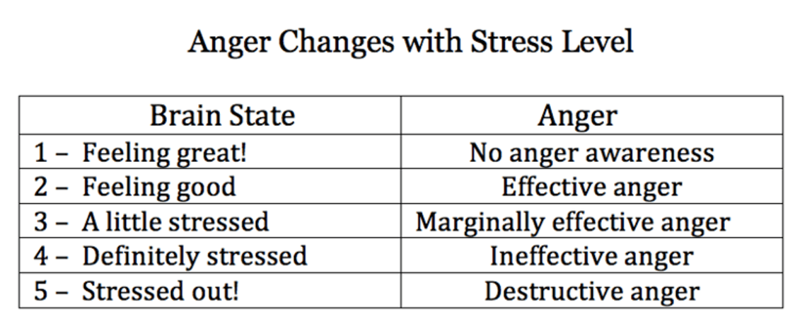 Brain state and anger levels