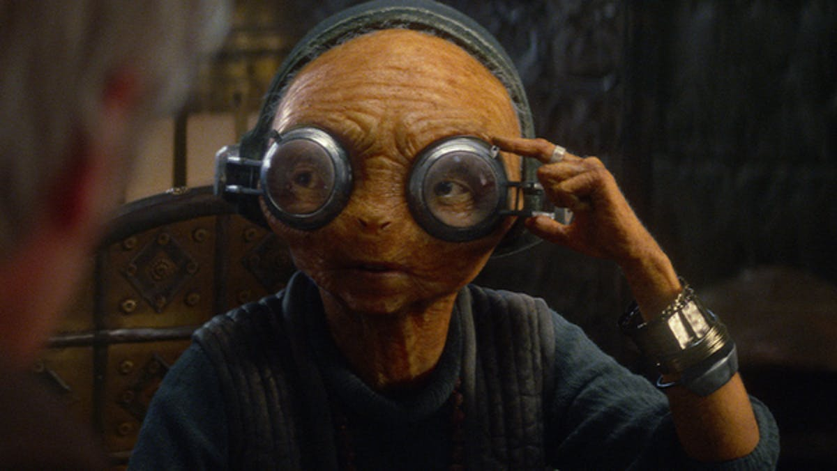 """Where's my boyfriend?"" - Maz Kanata talking about Chewbacca in 'The Force Awakens.' (I ship it and you love life, you do too.)"
