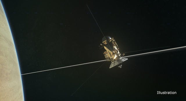 Cassini's  Radio and Plasma Wave Science instrument pings when dust interacts with it.  (RPWS) instrument