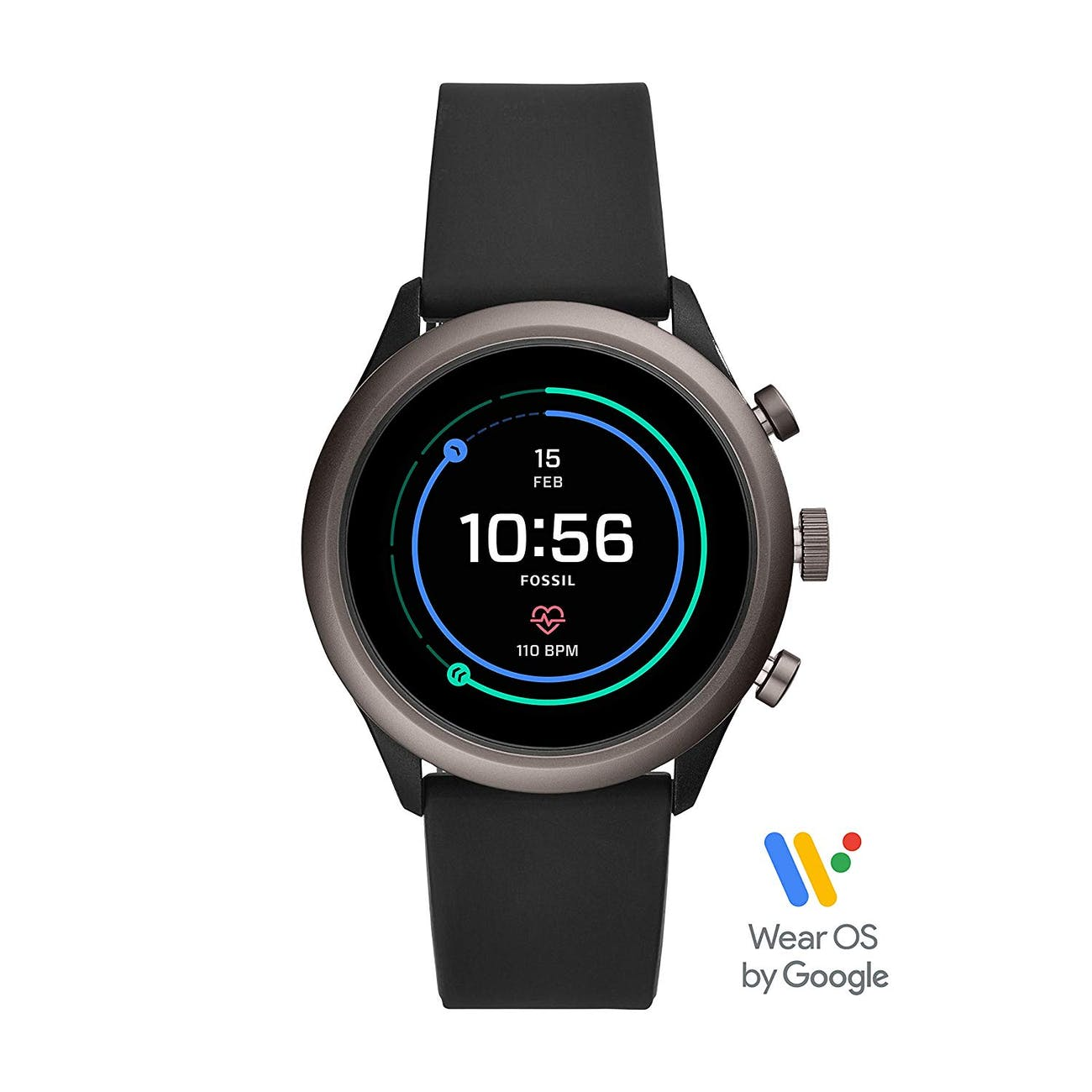 Fossil Men's Gen 4 Sport Metal and Silicone Touchscreen Smartwatch with Heart Rate, GPS, NFC, and Smartphone Notifications