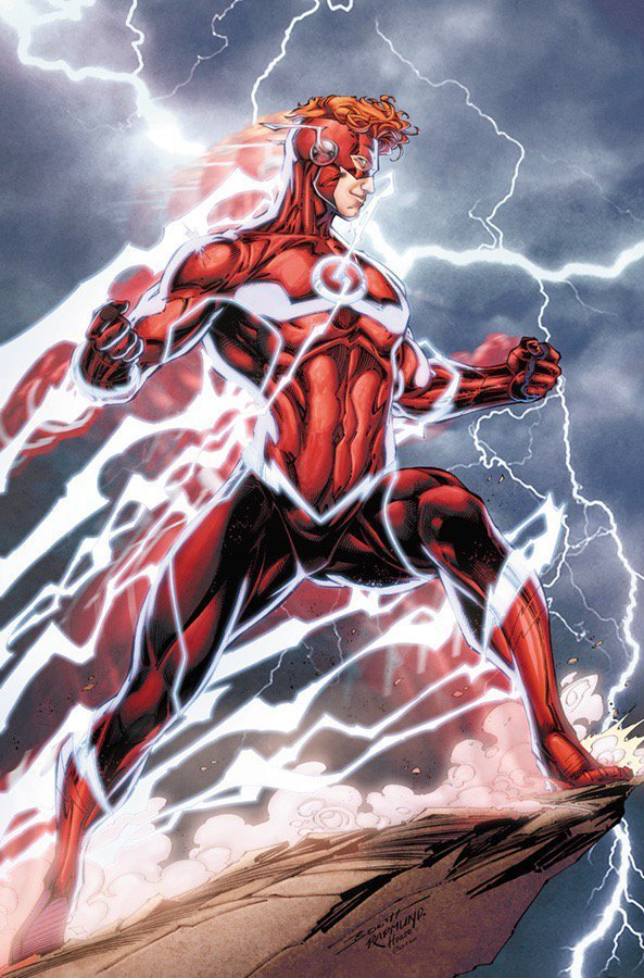 Wally West from the comics with an open-hair all-red costume.