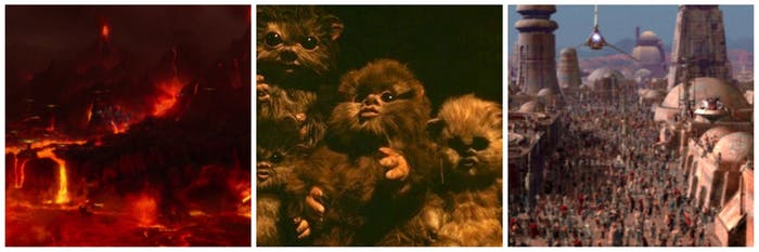 From left to right: Mustafar, baby Ewoks on Endor, a celebration on Tatooine.