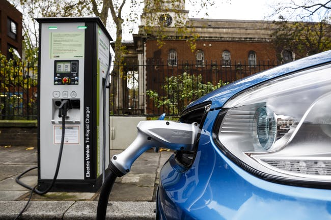 An electric car on charge.