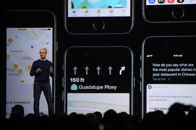 Apple CEO Tim Cook introducing some of iOS 11's new features.