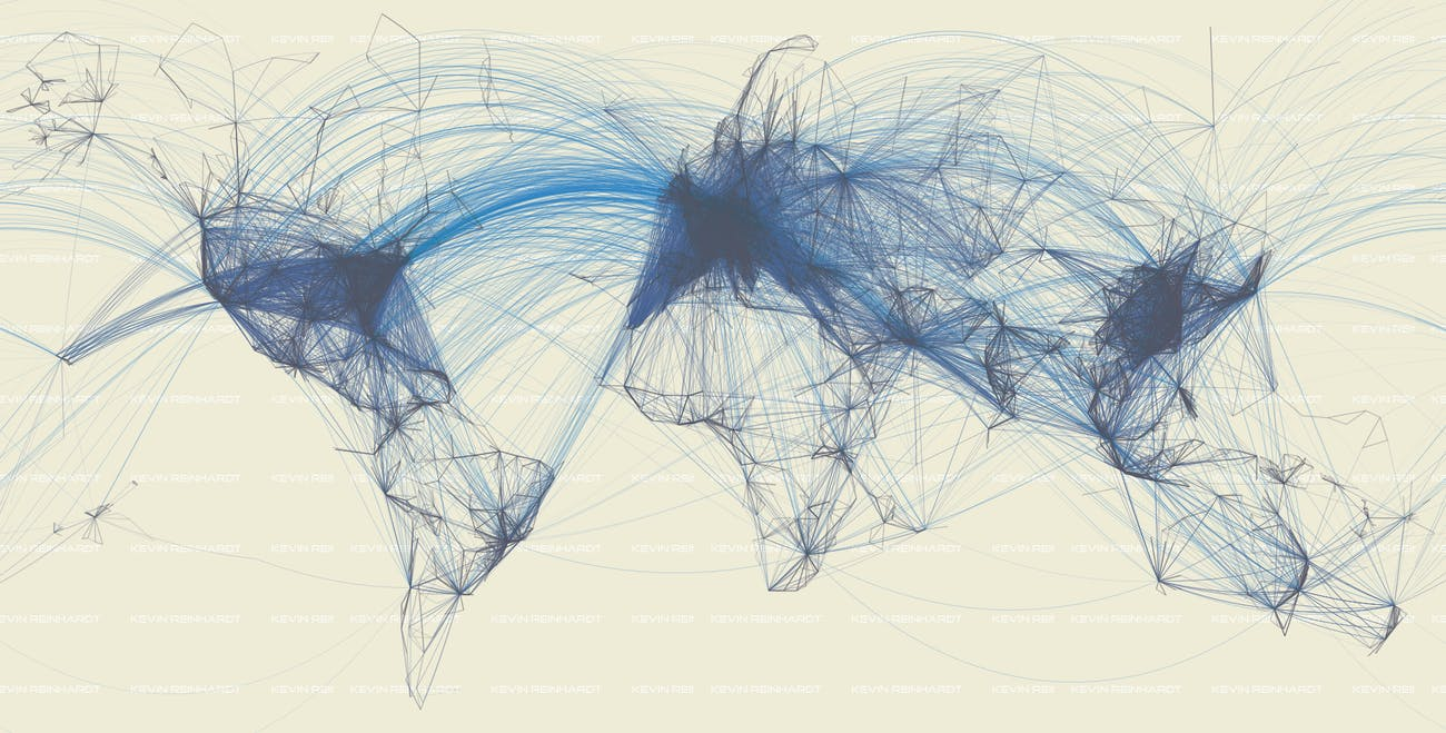 World map of global flight patterns.