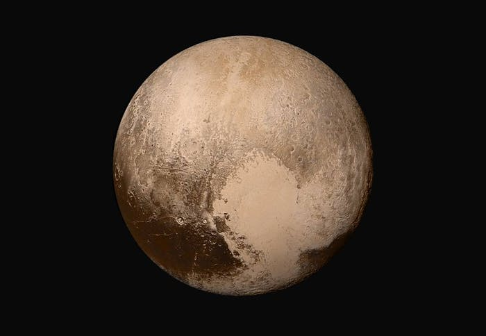 New Horizons gathered data from its flyby of Mars, allowing it to produce this image of Pluto.  Pluto's terrain includes a heart-shaped features, which may have an icy volcano at the tip.
