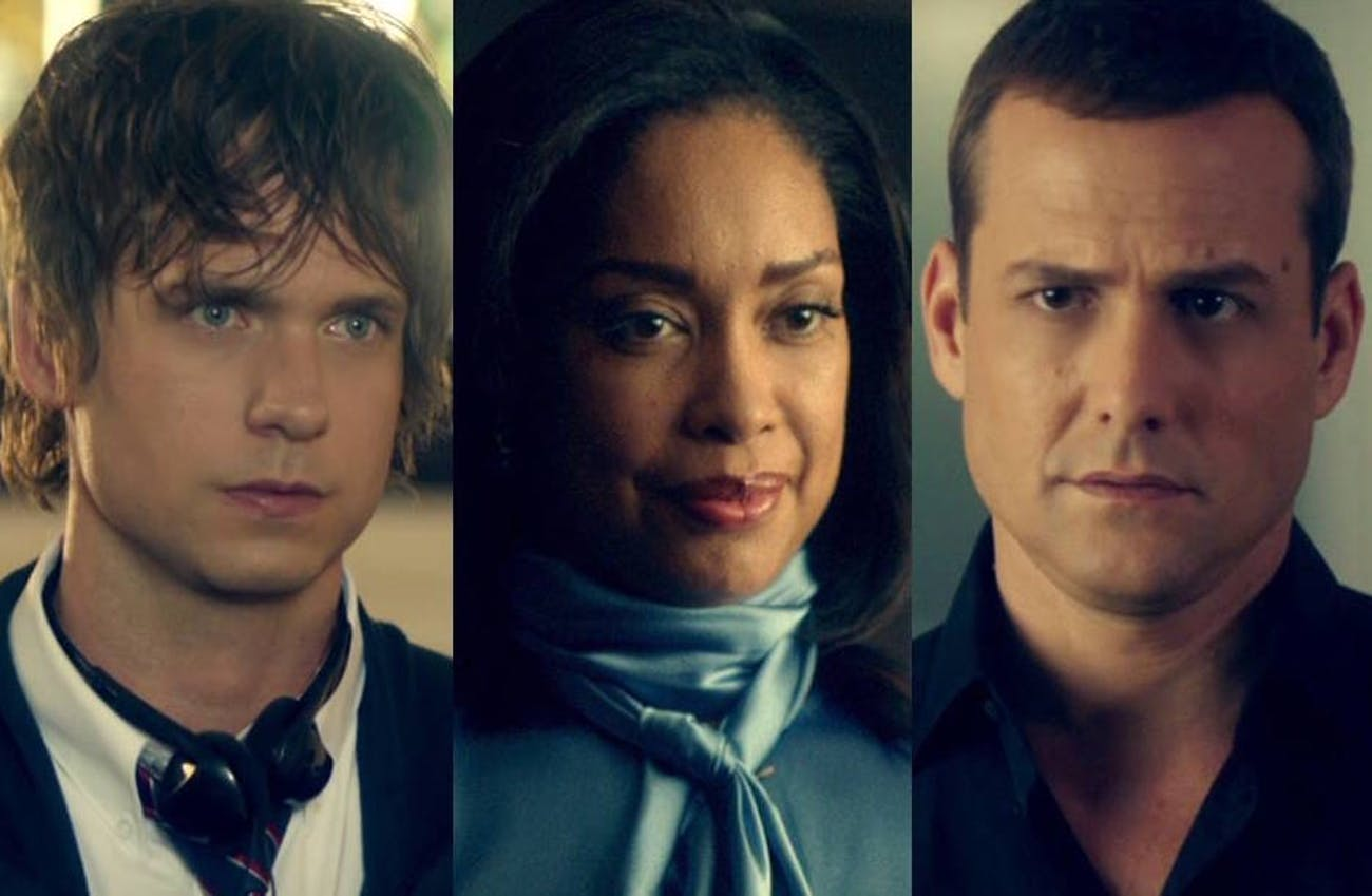 Patrick J. Adams, Gina Torres, and Gabriel Macht in 'Suits'