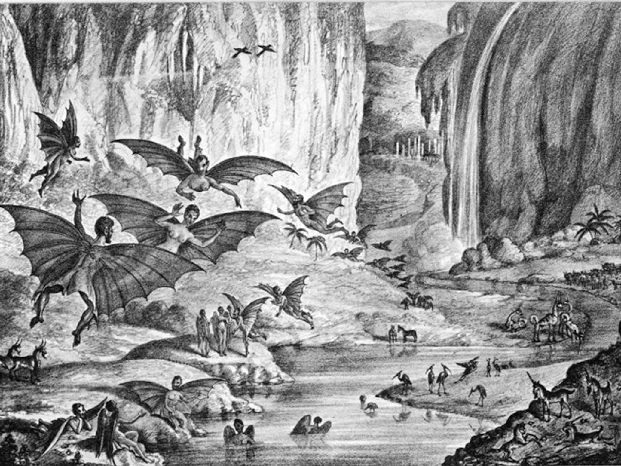 Moon Bat People Great Moon Hoax New York Sun Poe