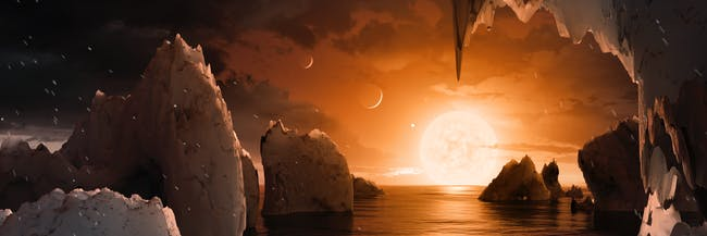 This illustration shows the possible surface of TRAPPIST-1f, one of the newly discovered planets in the TRAPPIST-1 system. Scientists using the Spitzer Space Telescope and ground-based telescopes have discovered that there are seven Earth-size planets in the system.