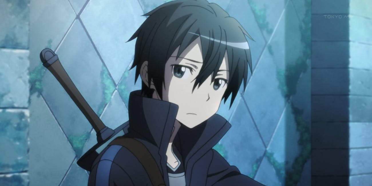 Kirito is the protagonist in a show based on a light novel series in which people get trapped in a video game.