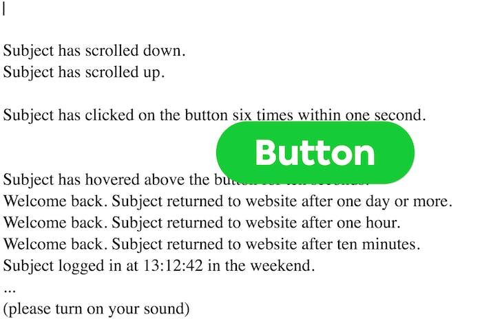 A sample screen shot of the behavior tracked Click Click Click.