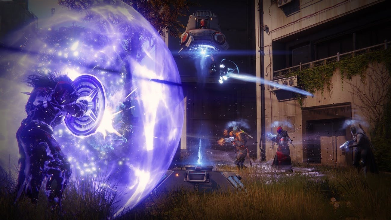 The Titan Sentinel has a shield it can throw and smash people with.