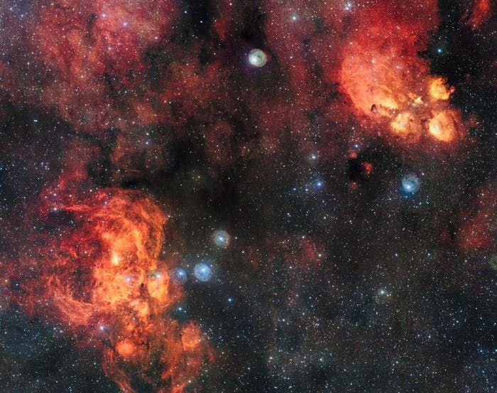 This image shows the Cat's Paw Nebula and Lobster Nebula in close proximity.