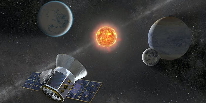 Illustration of NASA's Transiting Exoplanet Survey Satellite -- TESS -- observing an M dwarf star with orbiting planets.