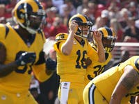 p.p1 {margin: 0.0px 0.0px 0.0px 0.0px; font: 18.0px Georgia}    Los Angeles Rams quarterback Jared Goff (16) throws during an NFL regular season football game against the Minnesota Vikings on September 27, 2018 at the Los Angeles Memorial Coliseum in Los Angeles, CA.
