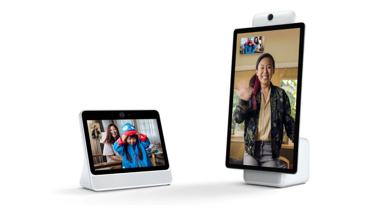 Facebook Portal (left) and the Portal+ (right)