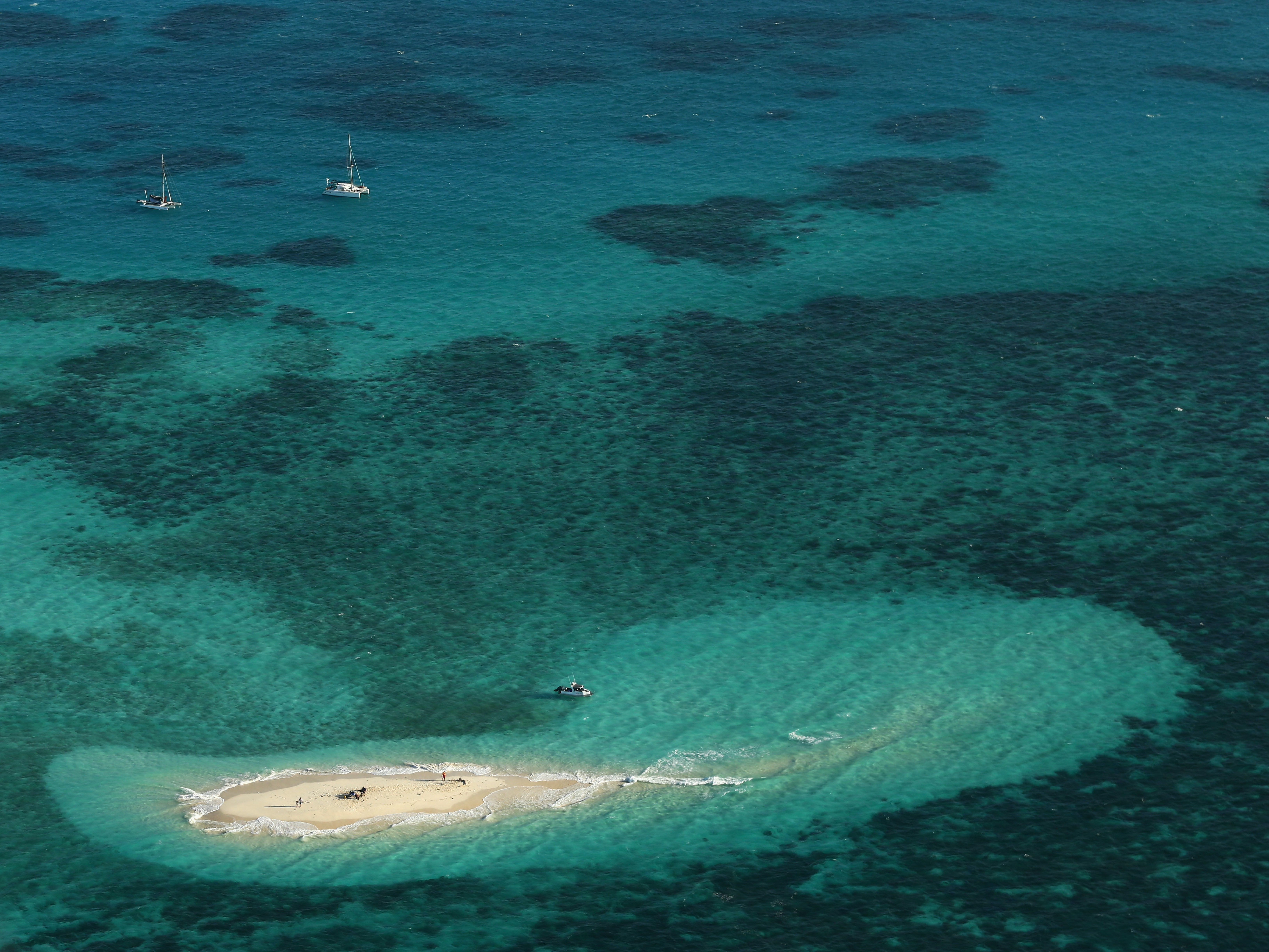 An aerial view of Vlassof Cay in the Great Barrier Reef is seen on November 14, 2012.