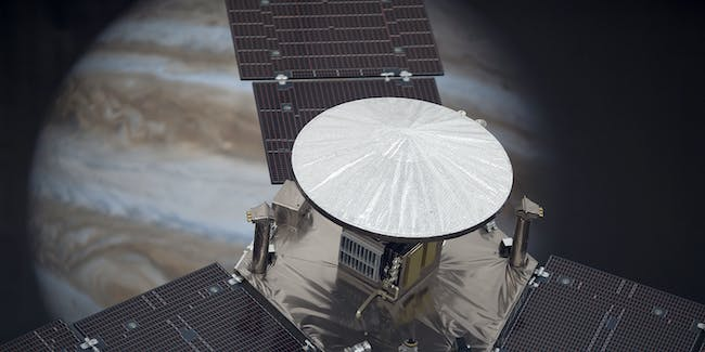 A scale model of the Juno spacecraft.