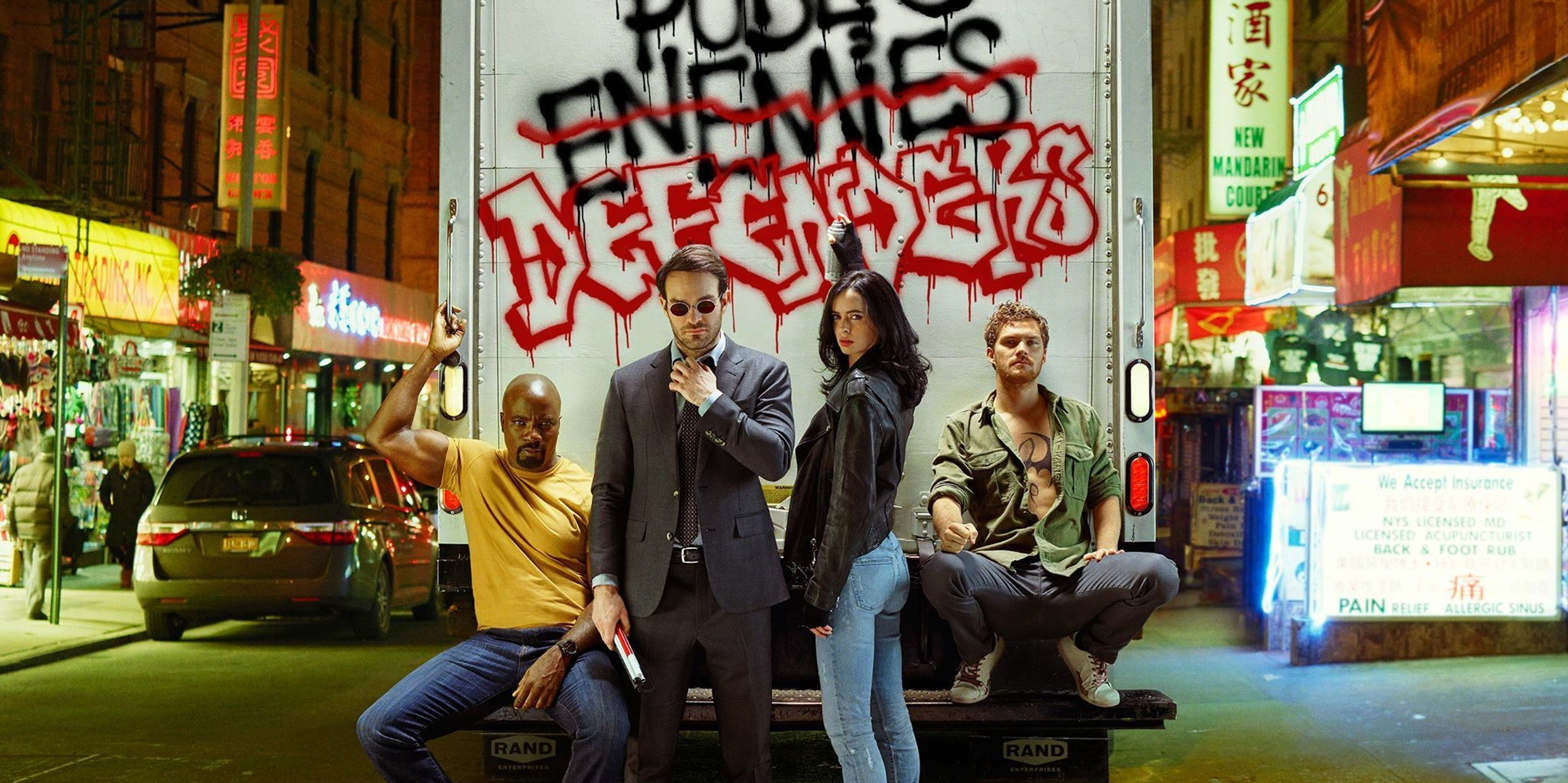 Daredevil, Jessica Jones, Luke Cage, and Iron Fist for Entertainment Weekly's Marvel Defenders cover
